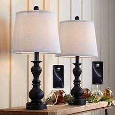 Resin Table Lamp Sets of 2 for Bedroom Living Room Plug in Bedside Nightstand Light Lamps with 2 USB Ports White Fabric Shade, 2-Pack 【Offer Retro Charm】 This vintage lamp set for table designs with resin and fabric shade, creates romantic, warm, cozy atmosphere, looks rustic and it's suitable for farmhouse lamp. Our bedside lamps sets are perfect to install in living room, bedroom, foyer, hallway, dining room, office, study and any room you like. 【Resin Table Lamp Set】 This USB table lamp has d