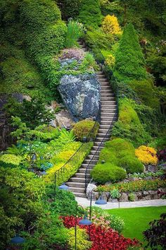 Butchart Gardens Stairs in Vancouver, BC, Canada