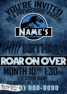 Personalized Birthday Invitation Jurassic Park by TCSDigitalDesign- used this last year, they turned out wonderfully!
