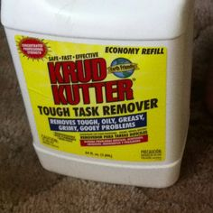 Best cleaning product I've ever used!  Gets year old dried paint out of carpeting, grease stains out of carpeting, great for grout. Put it in a spray bottle and use for any hard to get out stain or grime around the house!  Awesome!  You can get it in the paint section at walmart!  Smells chemically but it is non toxic.