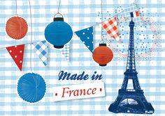 """pierre-feuille-ciseaux: carte postale """"Made in France"""" - 14 juillet"""