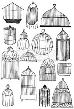 Birdcage doodles Royalty Free Stock Photo