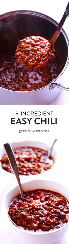 No one will ever guess that this delicious chili recipe only has 5 ingredients!!  So easy to make, and always a crowd favorite!   gimmesomeoven.com