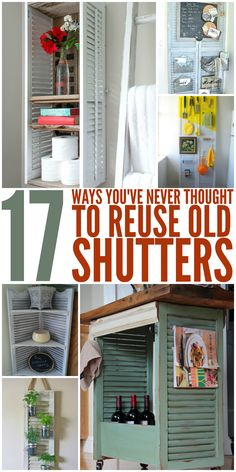 17 Ways You've Never Thought to Reuse Old Shutters 17 Ways You've Never Thought. 17 Ways You've Never Thought to Reuse Old Shutters 17 Ways You've Never Thought to Reuse Old Shutters – One Craz Old Wooden Shutters, Plastic Shutters, Indoor Shutters, House Shutters, Interior Shutters, Wood Shutters, Repurposed Shutters, Bedroom Shutters, Old Windows
