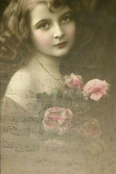 Vintage photograph of young girl -- with brown replacing black of photography and a few roses touched with pink tones. Vintage Children Photos, Vintage Girls, Vintage Pictures, Vintage Images, Vintage Soul, Shabby Vintage, Album Vintage, Growing Up Girl, Scenery Pictures