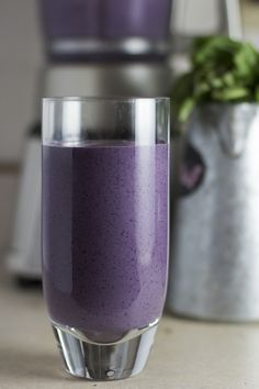 Blueberry Basil Smoothie (with added natural protein to make it a breakfast on the go)  http://www.worthcooking.net/blueberry-basil-smoothie/
