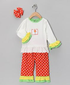 Take a look at this Orange Polka Dot Ruffle Pants Set - Infant, Toddler & Girls by Molly Pop Inc. on #zulily today!