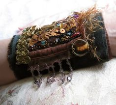 The Key - Steampunk fabric cuff Vintage Velvet and Skeleton Key Collage