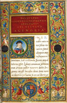 The author and the arms of Henry VIII    This manuscript contains works by Lucian of Samosata and Pandolfo Collenuccio. We know that the book was made as a gift for Henry VIII because it includes his arms in the lower border.    Pandolfo Collenuccio, Apologues, and Lucian of Samosata, Dialogues  Rome and Florence, c. 1509–17  British Library, Royal 12 C. viii, f. 4