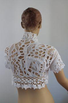 20% OFF Freeform Crochet Cotton Wedding Shrug  by levintovich