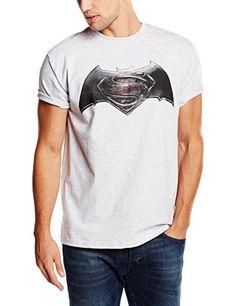 DC Universe Batman V Superman Logo Shield-Camiseta Hombre    Grau - Grey (Sport Grey) XX-Large #regalo #arte #geek #camiseta