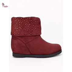 Cendriyon, Boots fourrées strass UGAN Mode bordeaux Chaussures Femme Taille 37 - Chaussures cendriyon (*Partner-Link)