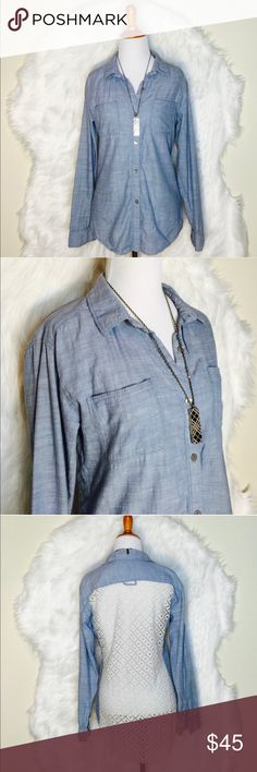 "Free People Denim with Lace Back Top Distressed denim pullover shirt & buttons down. Two front pockets with beautiful lace back design. Hi-low. Laid flat across @ bust: 19"". Length front: 27"", Length back: 30"". NWOT Free People Tops Tees - Long Sleeve"