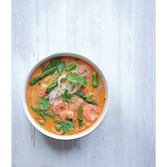 You'll never guess how long this aspargus and prawn coconut noodle soup takes... 20 mins!