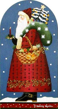Melissa Shirley Designs | Hand Painted Needlepoint | Peace and Pine Santa © Debbie Mumm