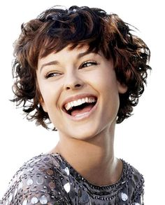 Curly hairstyles for short hair with short bangs