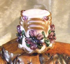 VIOLETS Lampwork Glass Thimble by Lynn SRA An034 by Laffinggull, $29.99