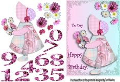 A Very pretty 3D card for a young girl of any age between 1 and 10.  this card is very easy to make and it fit into any A5 envelope when finished,