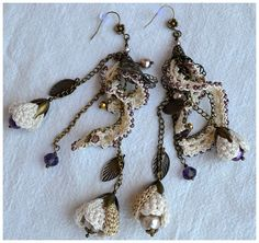 elegant crochet flower chandelier earringsvintage by Marmotescu