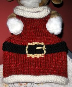 Handmade Puppy Dog / Kitty Cat Clothing - Knit Pet Pullover Red Santa Sweater Vest, [id:leave cookies] by greatlakestate2 on Etsy