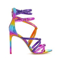 Elevate from a simple to statement look with our rainbow coloured Freya Sandal. Knotted multi-strap silhouette for ultimate comfort all evening long. Stilettos, High Heels, Rainbow Heels, Latest Shoes, Shoe Art, Sophia Webster, Couture, Luxury Shoes, Ankle Strap