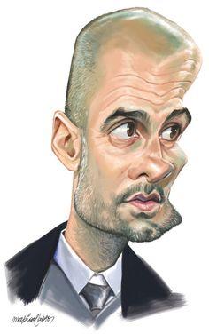 Pep Guardiola caricaturizado por Mario Alberto