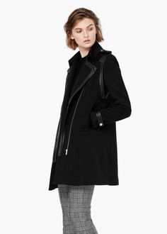 Leather panels coat -  Women   MANGO Ref. 53027511 Discorso