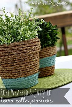 Giving nature a home in style with these lovely rope wrapped terra cotta planters #homesfornature