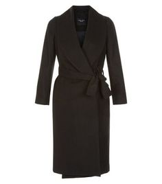 New Look Petite Black Belted Wrap Front Longline Coat ( 49) ❤ liked on  Polyvore fdf9205680dba