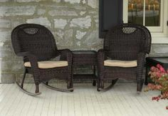 wicker rockers...i would never leave my porch