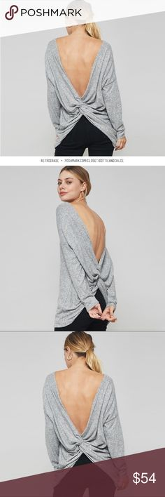 "Retrograde • Open Back Brushed Hacci Sweater Retrograde • A brushed hacci sweater top with twisted open back, crew neck and long sleeves.   Made in USA 50% polyester 46% rayon 4% spandex • very soft, warm and drapes beautifully S: 42"" bust / 27"" length M: 44"" bust / 27"" length L: 46"" bust / 28"" length  Brand new with boutique tags  REASONABLE offers and bundles welcome!  SKU: 1711071111/99649301 dottie + chloe Sweaters"