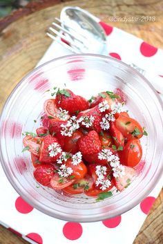 Strawberry & Tomato Salad, Coriander Flowers