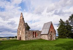 Ancient roofless church ruins on a beautiful sunny mid-summer day in Finland - Ancient roofless church ruins on a beautiful sunny day in mid-summer in Finland.