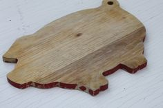 Vintage Wooden Pig Cutting Board with Red Trim / by SouthernGilt #vintage #hostess