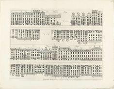 Gevels van huizenrijen aan de Keizersgracht naar de Vijzelstraat en de Herengracht, Caspar Jacobsz. Philips, 1768 - 1771