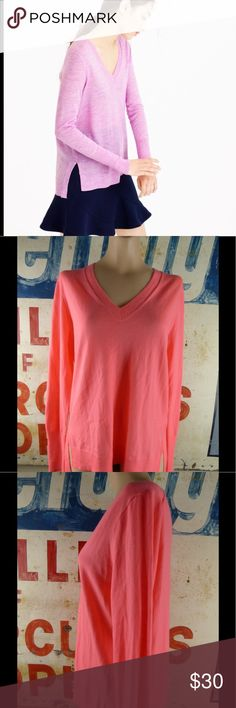 """J. Crew Merino Wool Sweater in Coral Size Medium Like new condition.  Merino wool.  Style C1934.  27"""" length.  22"""" side to side at the under arm. J. Crew Sweaters V-Necks"""