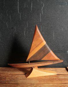 Vintage Mod Wooden Sailboat, Teak Walnut Wood Boat, Nautical Decor, Beach House Decor, Carved Wood Boat by Fleaosophy on Etsy