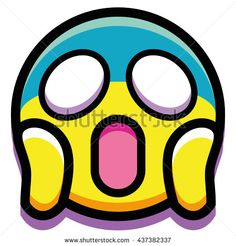 Vector Scared Face Isolated On White Background