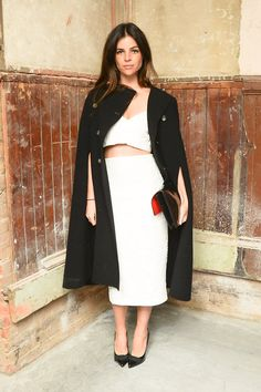 Julia Restoin Roitfeld wearing a Burberry skirt at The xx performance in NYC hosted by Burberry