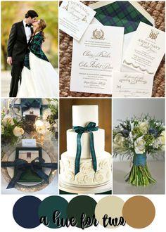 Navy Blue, Teal, Green, Ivory and Gold Tartan Nova Scotian/Scottish Wedding Colour Scheme - Wedding Colors - A Hue For Two Best Wedding Colors, Winter Wedding Colors, Wedding Color Schemes, Green Wedding, Fall Wedding, Wedding Ideas, Colour Schemes, Trendy Wedding, Wedding Blog