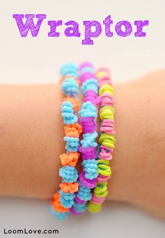 If you are looking for an easy Rainbow Loom bracelet, try the Wraptor. There are many more loom band ideas at LoomLove.com!
