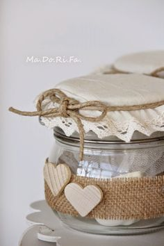 75 best and simple diy mason jar crafts page 23 Mason Jar Crafts, Mason Jar Diy, Bottle Crafts, Bottles And Jars, Glass Jars, Burlap Crafts, Diy And Crafts, Burlap Lace, Altered Bottles