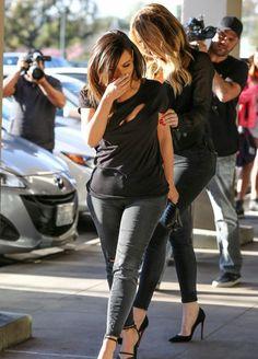 February 7, 2014 -Kim & Khloe Kardashian leaving Maria's Italian Kitchen in Calabasas.