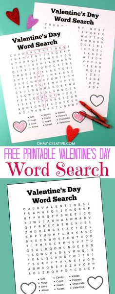 I love DIY! What a neat idea. A great activity for the Valentine's Day Holiday - Free Printable Valentine's Day Word Search For Kids | OHMY-CREATIVE.COM