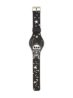 Disney Lilo & Stitch Skeleton & Stars Glow-In-The-Dark Rubber LED Watch,