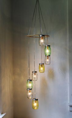 Lemon Lime SPRING - Mason Jar Chandelier Hanging Light Fixture - Spiral Waterfall Rustic Mason Jar Wedding Lighting - BootsNGus Lamp Design on Etsy, $210.00