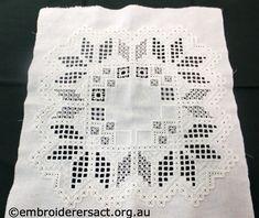 Hardanger rectangle in progress by Meryl Fellows