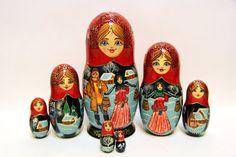 Russian Matryoshka 7pcs Couple in a village wonderful by EtsyGrail