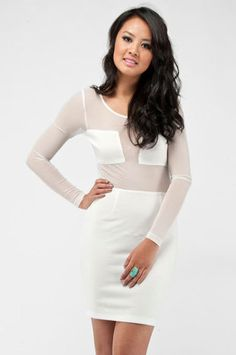 Squared Mesh Dress in Ivory $41 at www.tobi.com @Nicole Perez this is cute!