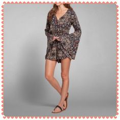 Abercrombie Boho Bell Sleeve Gypsy Romper This romper is super cute and has flared sleeves. The material is a super soft cotton and there is no stretch to the fabric. Size small in Abercrombie. Never worn or tried on; third image is from google. I love the look of this item but I wear medium in A&F  Abercrombie & Fitch Dresses Mini